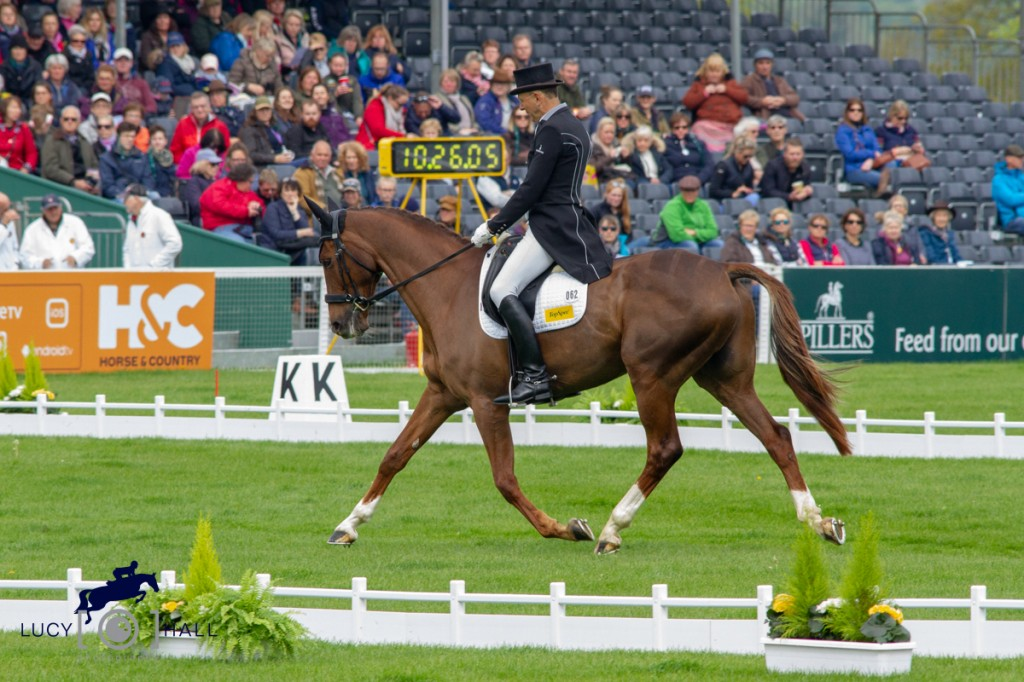 Bill Levett and Lassban Diamond Lift complete their Dressage for their Badminton debut